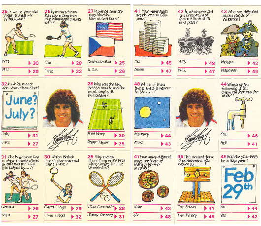 1980 Shredded Wheat Kevin Keegan's Quiz cards 2