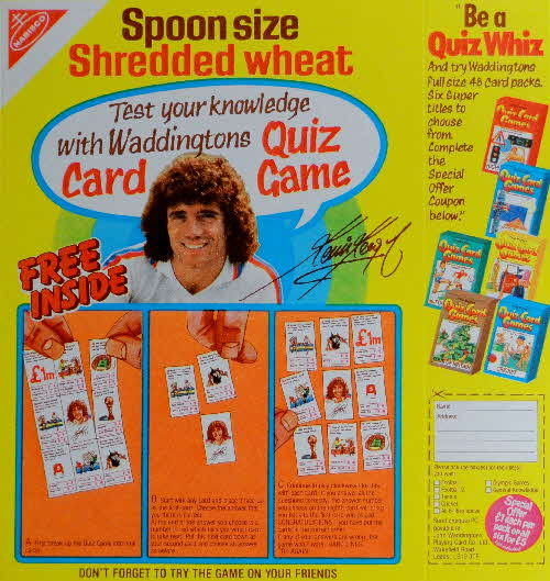 1980 Spoonsize Kevin Keegan Quiz Card Game & Send Away