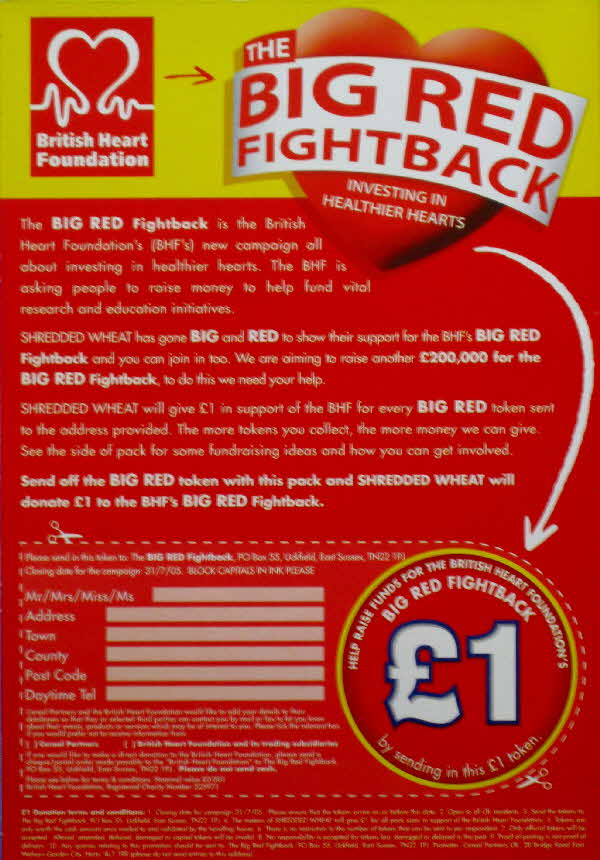 2004 Shredded Wheat Bitesize Big Red Fightback Heart Foundation