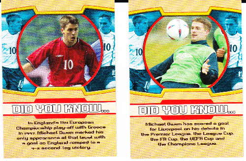 2002 Sporties Michael Owen Photocards 3 back