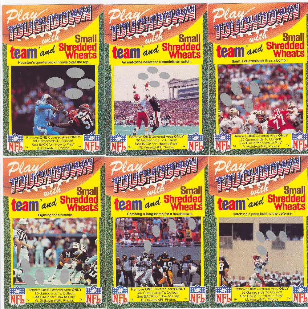 1989 Shredded Wheat Touchdown Gamecards 1