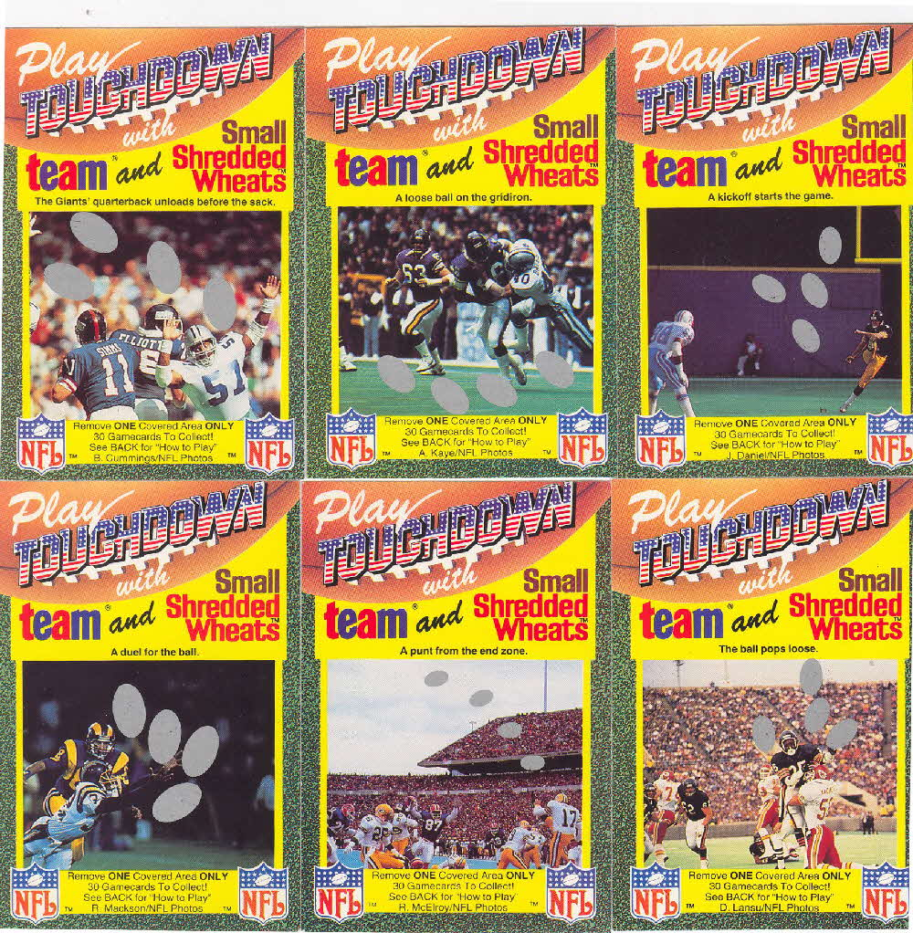 1989 Shredded Wheat Touchdown Gamecards 2