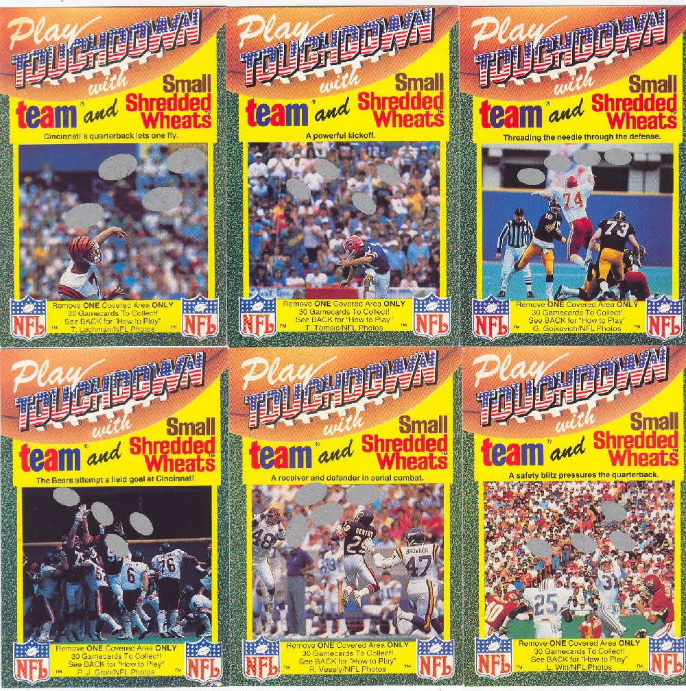 1989 Shredded Wheat Touchdown Gamecards 3