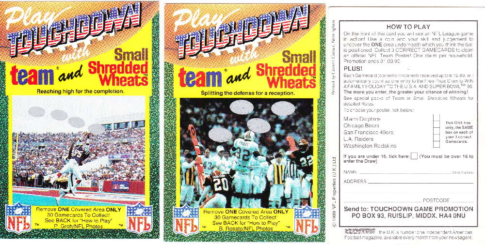 1989 Small Shredded Wheat Touchdown Gamecards (4)