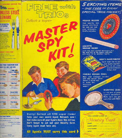 1960s Nabisco Trio Master Spy Set back