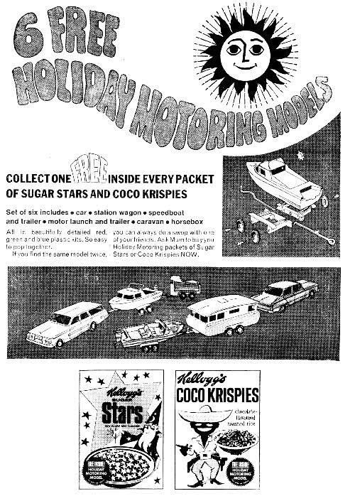 1967 Coco Krispies Holiday Motoring Models