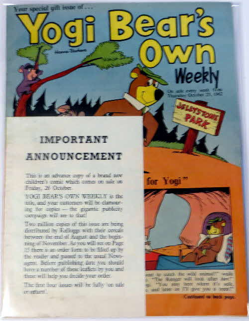 1962 Coco Pops Yogi Bear Weekly Promotional Comic & leaflet