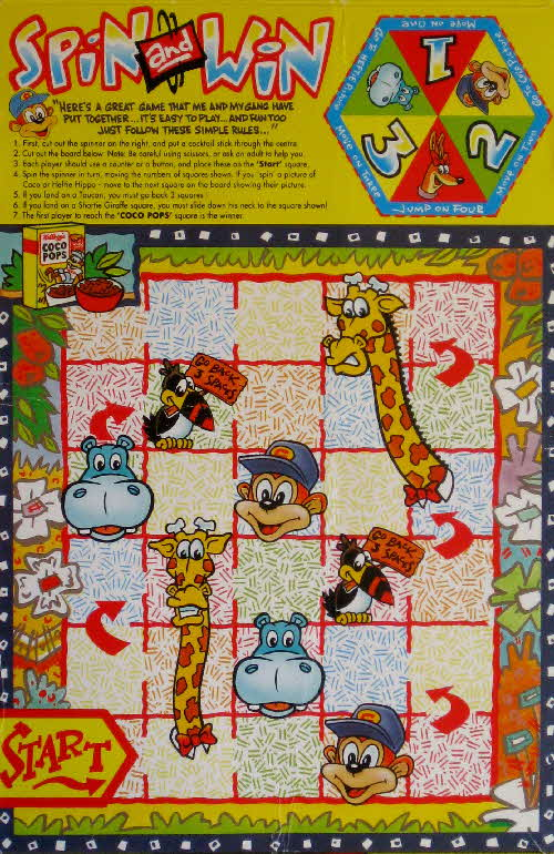 1992 Coco Pops Spin and Win game