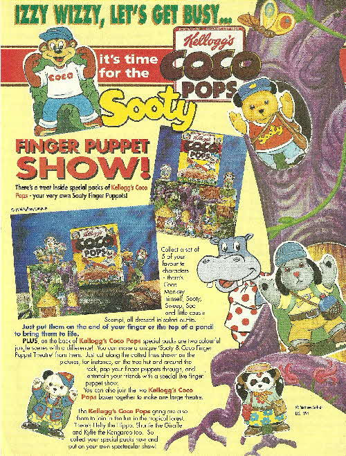 1994 Coco Pops Sooty Finger Puppets