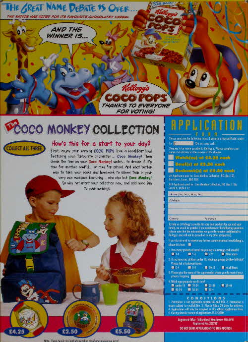 1999 Coco Pops Coco Monkey Collection and Vote result name change