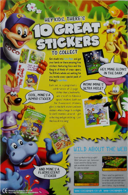 2001 Coco Pops Sticker Set