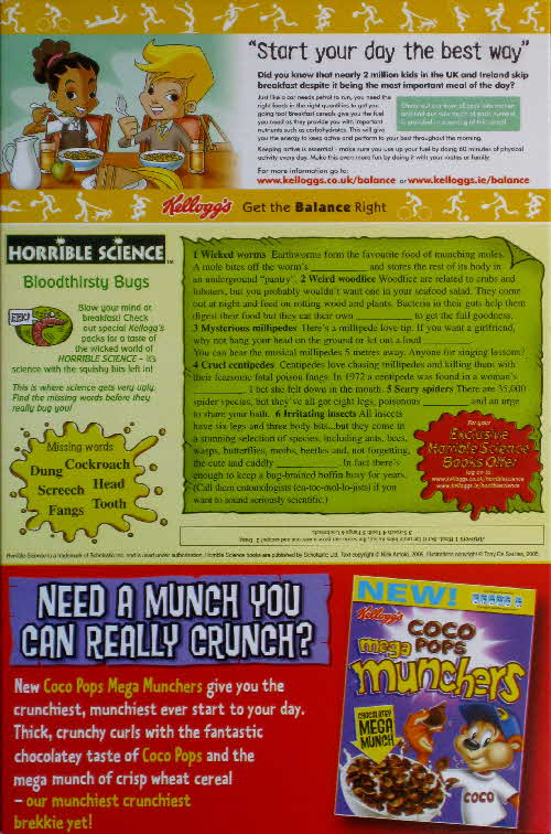 2006 Coco Pops Horrible Science Bloodythirsty Bugs