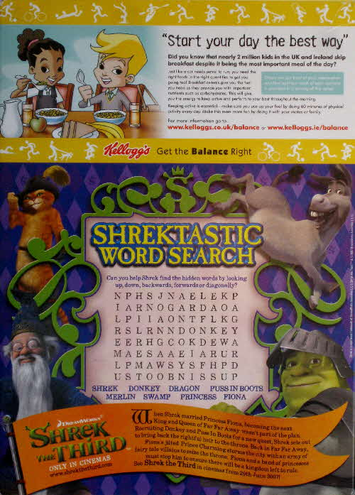 2007 Coco Pops Shrek 3 Wordsearch