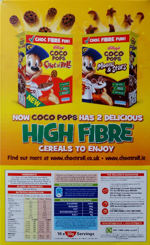 2011 Coco Pops High Fibre cereals