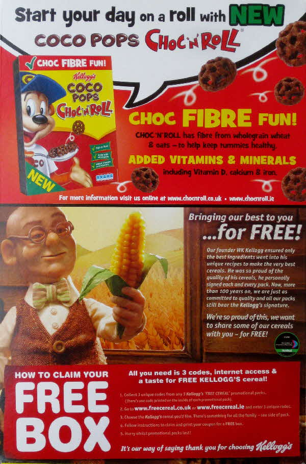 2010 Coco Pops Free Box cereal