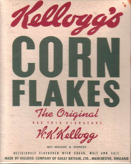 1950s Cornflakes packet back