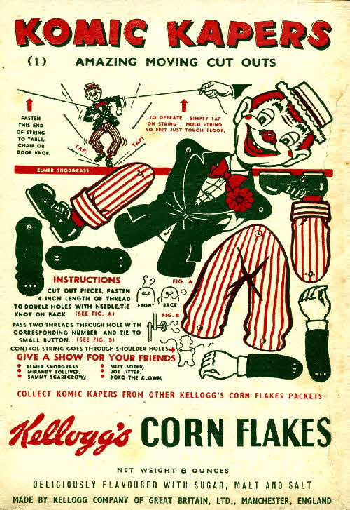 1950s Cornflakes Komic Kapers No 1 Elmer Snodgrass