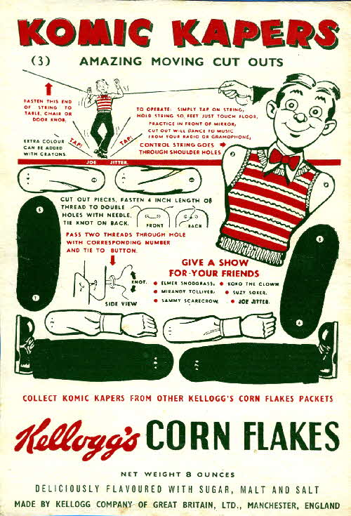 1950s Cornflakes Komic Kapers No 3 Joe Jitter