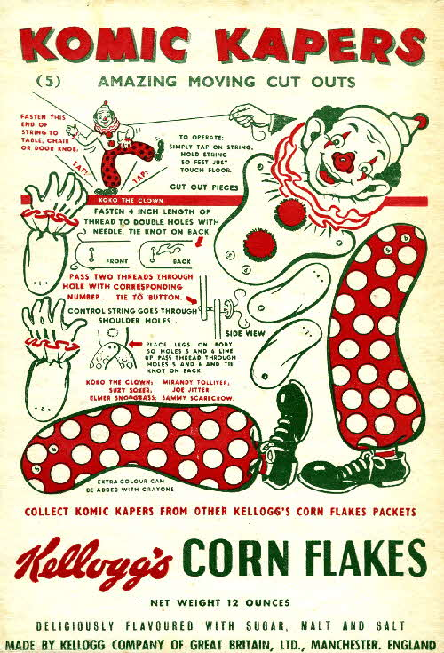 1950s Cornflakes Komic Kapers No 5 Koko the clown