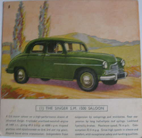 1954 Cornflakes Car Cards No 1 Singer Saloon (betr)