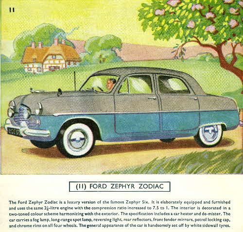 1954 Cornflakes Car Cards No 11 Ford Zephyr Zodiac