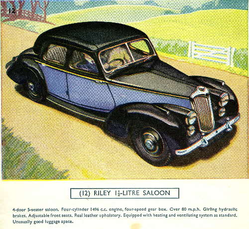 1954 Cornflakes Car Cards No 12 Riley 1.5 ltr Saloon