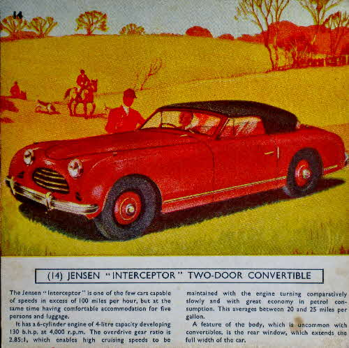 1954 Cornflakes Car Cards No 14 Jensen Interceptor 2 door Convertible