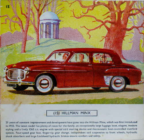 1954 Cornflakes Car Cards No 15 Hillman Minx