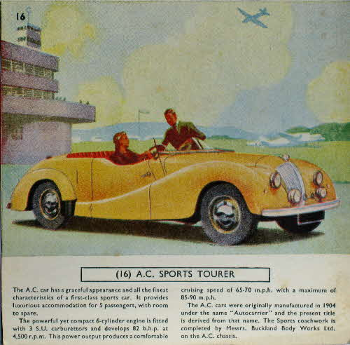 1954 Cornflakes Car Cards No 16 AC Sports Tourer