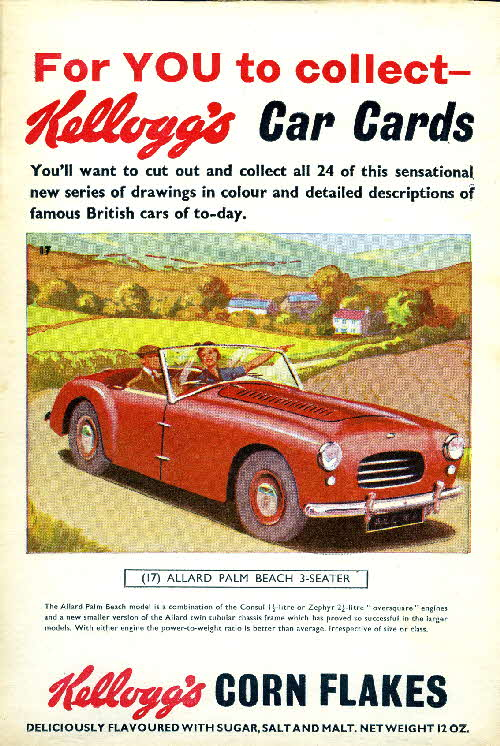 1954 Cornflakes Car Cards No 17 Allard Palm Beach 3 seater