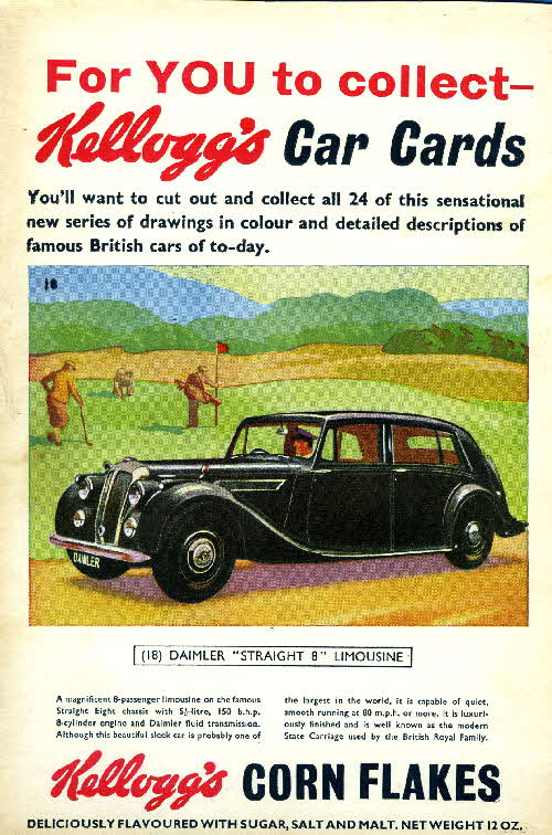 1954 Cornflakes Car Cards No 18 Daimler Straight 8 Limousine