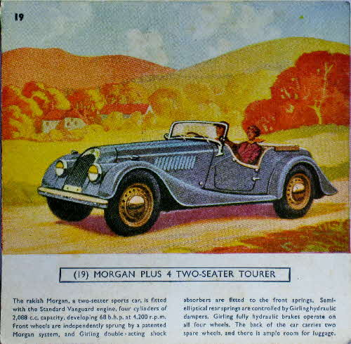 1954 Cornflakes Car Cards No 19 Morgan Plus 4 2 seater tourer