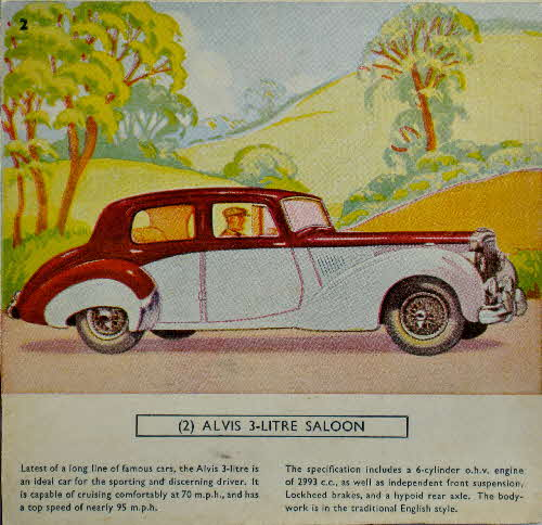 1954 Cornflakes Car Cards No 2 Alvis 3 ltr Saloon
