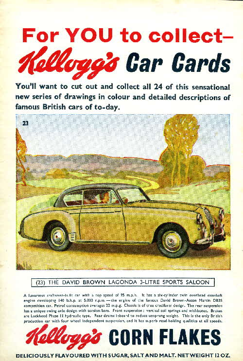 1954 Cornflakes Car Cards No 23 David Brown Lagonda 3 ltr Sports Saloon