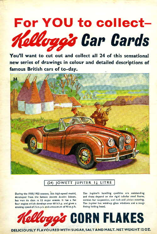 1954 Cornflakes Car Cards No 24 Jowett Jupiter 1.5 ltr