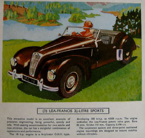1954 Cornflakes Car Cards No 3 Lea Francis Sports