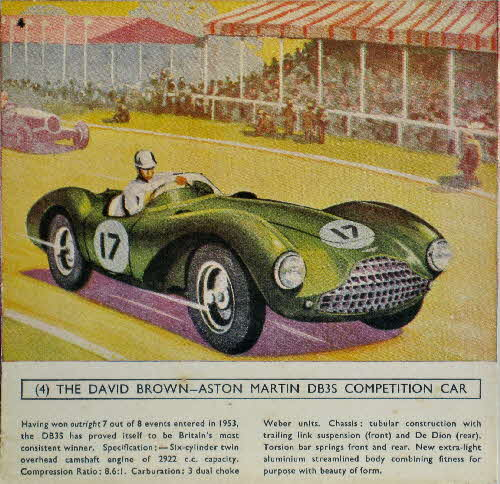 1954 Cornflakes Car Cards No 4 David Brown Aston Martin DB3S