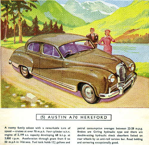 1954 Cornflakes Car Cards No 5 Austin A70 Hereford