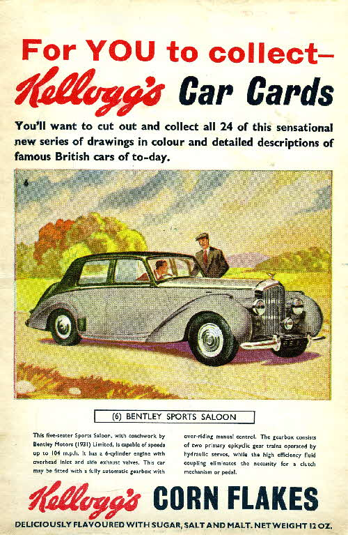 1954 Cornflakes Car Cards No 6 Bentley Sports Saloon