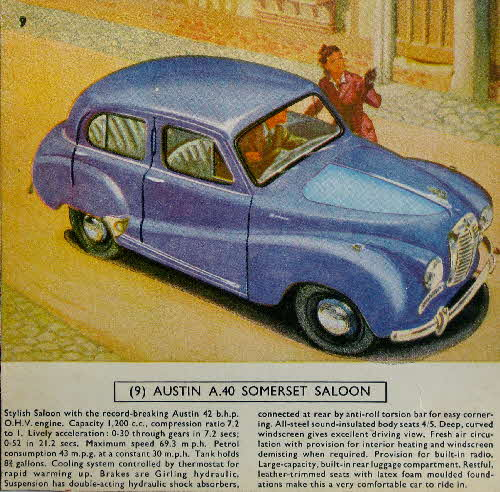 1954 Cornflakes Car Cards No 9 Austin A40 Somerset Saloon