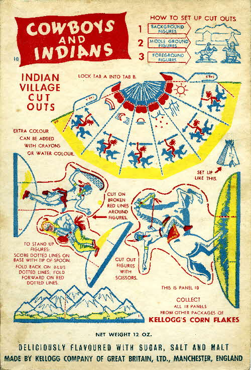 1952 Cornflakes Cowboys & Indians coloured no 10 indian village