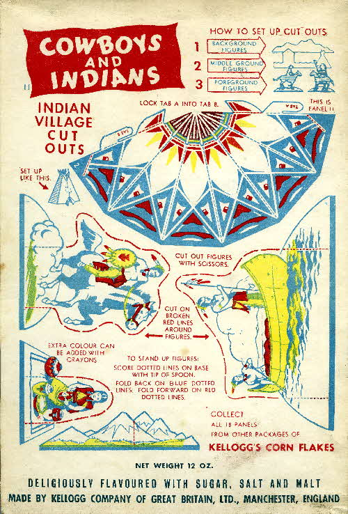 1952 Cornflakes Cowboys & Indians coloured no 11 Indian village