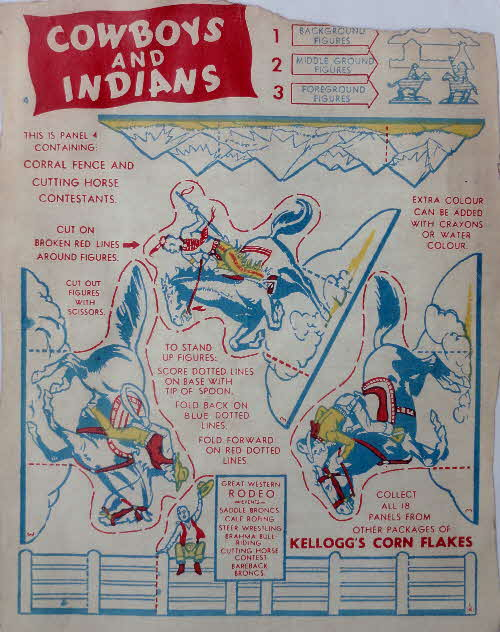 1952 Cornflakes Cowboys & Indians coloured no 4 corral fence & cutting horse contestants