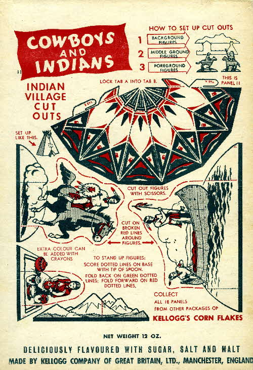 1952 Cornflakes Cowboys & Indians no 11 Indian village