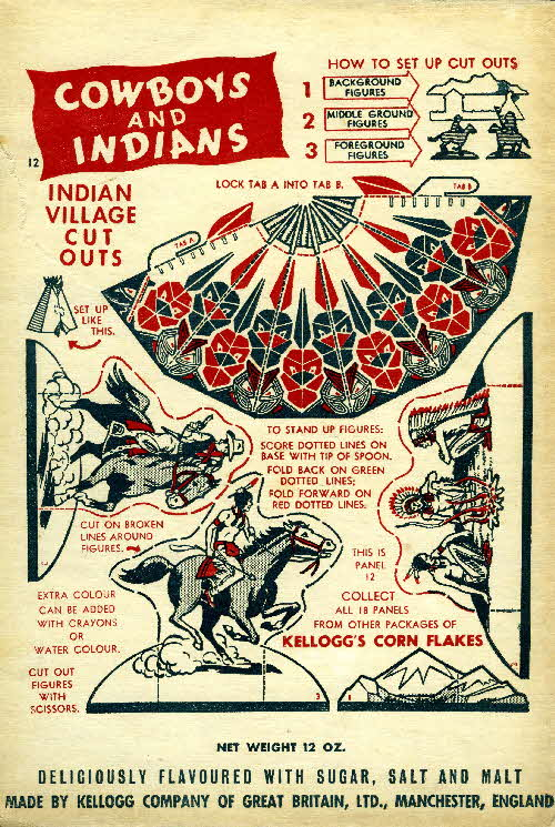 1952 Cornflakes Cowboys & Indians no 12 Indian village