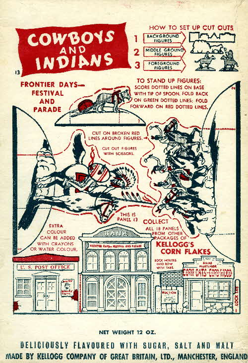 1952 Cornflakes Cowboys & Indians no 13 Frontier Days festival & parage