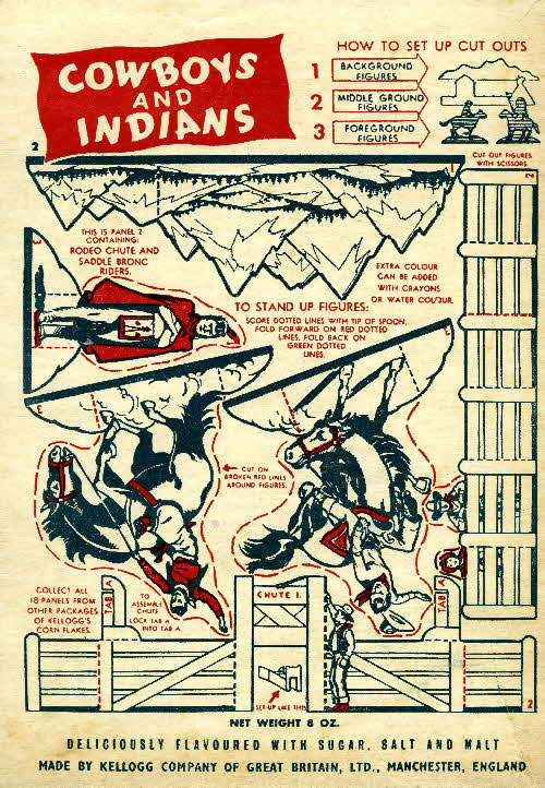 1952 Cornflakes Cowboys & Indians no 2 rodeo chute & saddle bronc ridders (1)