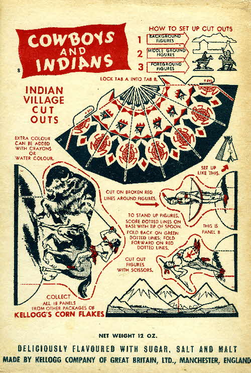 1952 Cornflakes Cowboys & Indians no 8 Indian village