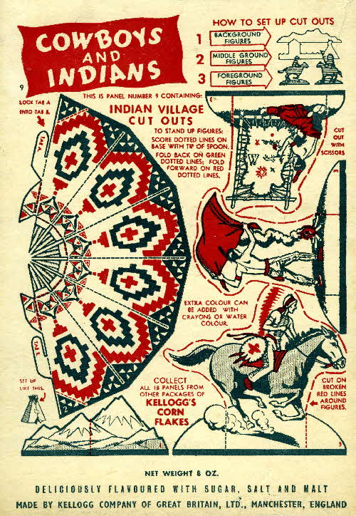 1952 Cornflakes Cowboys & Indians no 9 Indian village