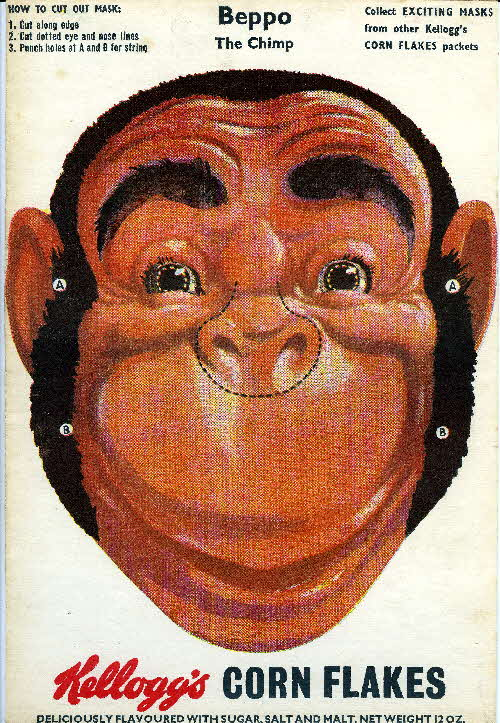 1950s Cornflakes Exciting Masks Beppo the Chimp